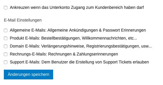 Screenshot: Rechte für das Unterkonto