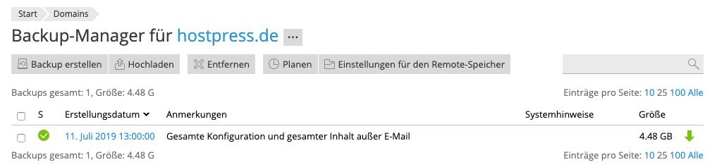 Screenshot: Backup-Manager