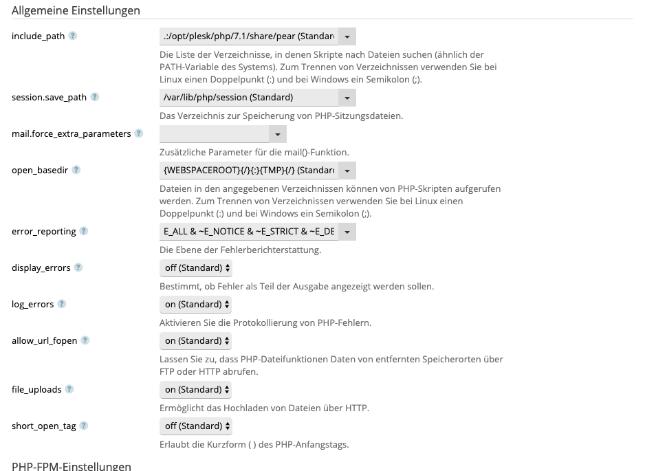 Screenshot: PHP-Einstellungen