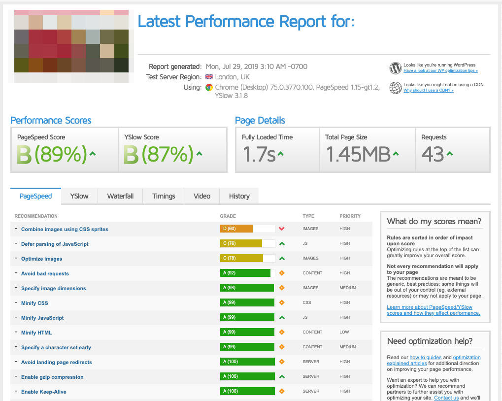 Screenshot: Auswertung GTmetrix