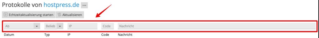 Screenshot: Plesk Control-Panel - Bereich Protokolle - Filtereinstellungen