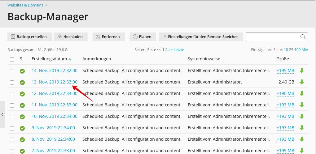 Screenshot: Der Backupmanager - Wahl des Backupdatums
