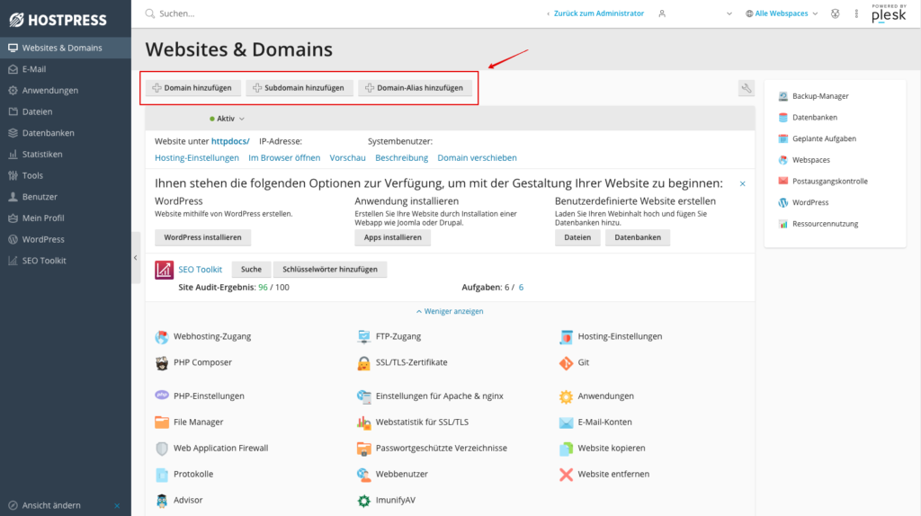 Screenshot Plesk: Domains in Plesk erstellen