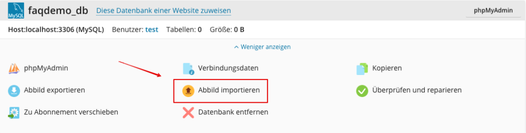 Screenshot: Datenbank importiren