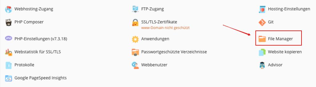 Screenshot: Plesk - Webseite & Domains