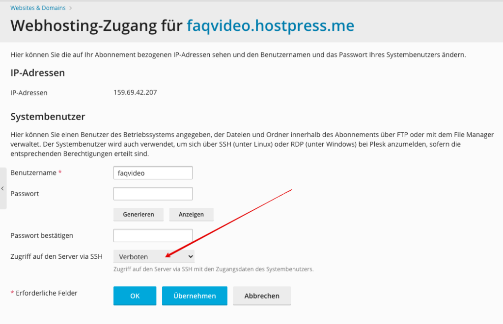 Screenshot: Plesk - FTP-Zugang (Hauptnutzer)