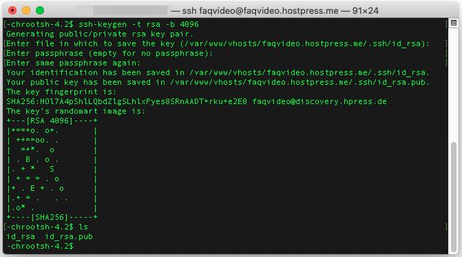 Screenshot: Der Schlüssel wurde mit dem Namen id_rsa (privat) und id_rsa.pub (öffentlich) erzeugt