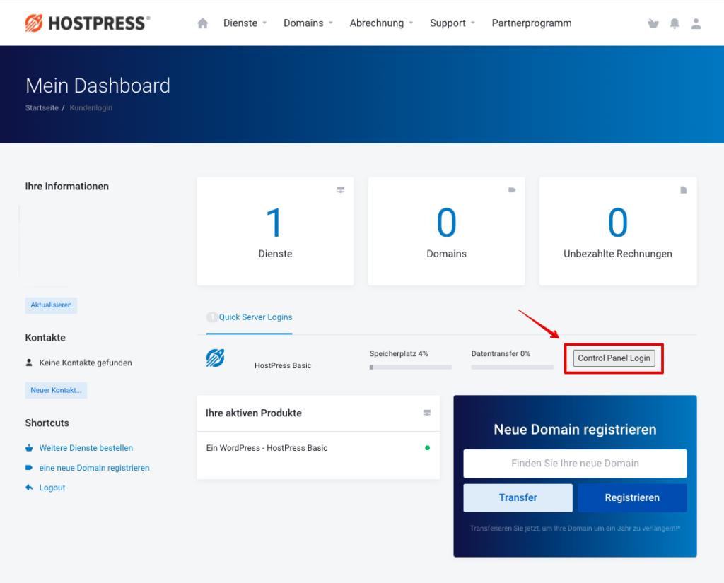 Screenshot: Kundencenter - Plesk Login