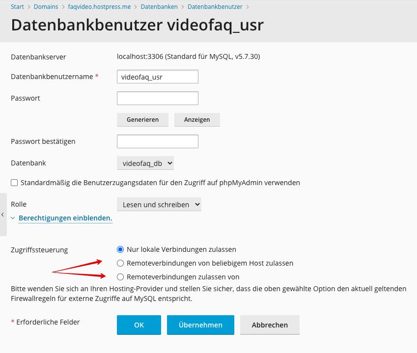 Screenshot: Plesk - Datenbanken - Datenbankbenutzer