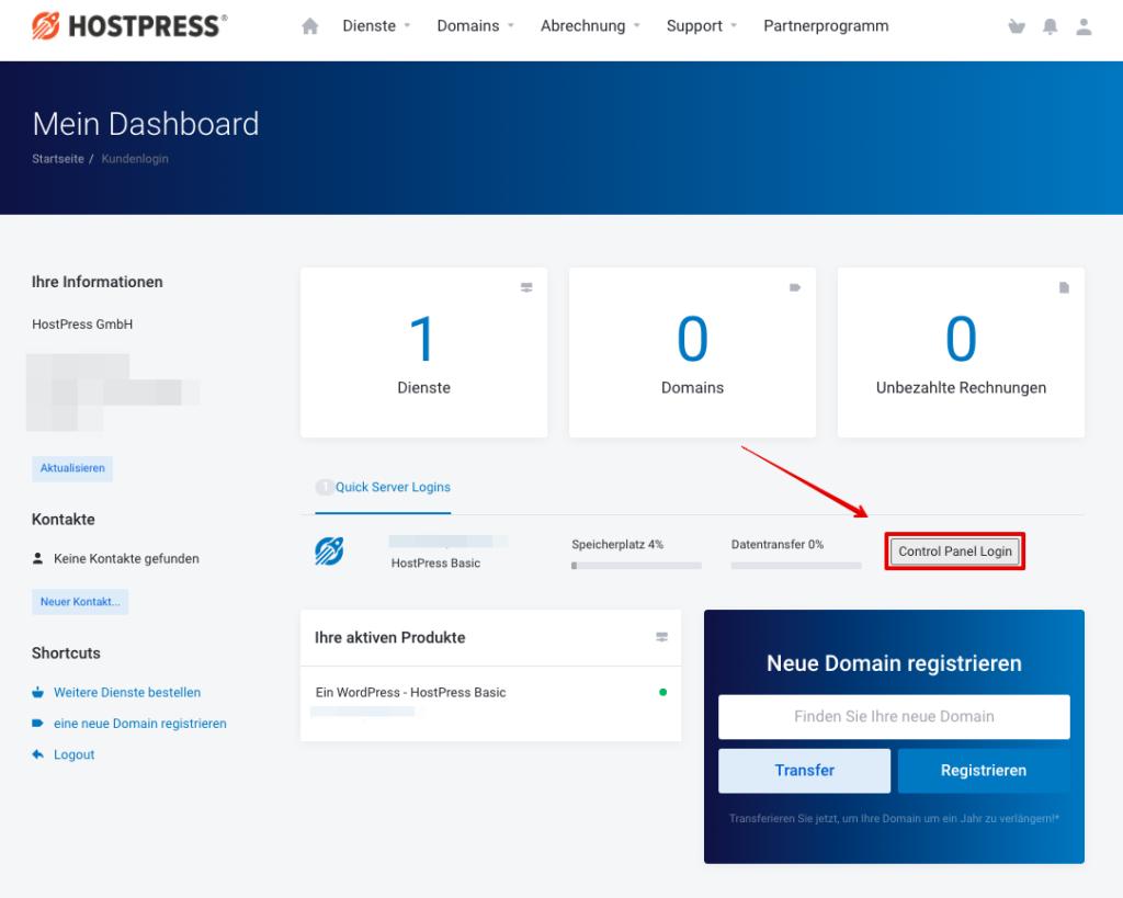 Screenshot: Kundencenter - Direktlogin zum Plesk-Server
