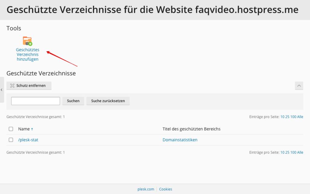 Screenshot: Plesk - Passwortgeschützte Verzeichnisse