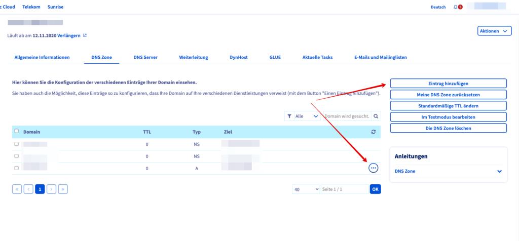 Screenshot: DNS-Verwaltung
