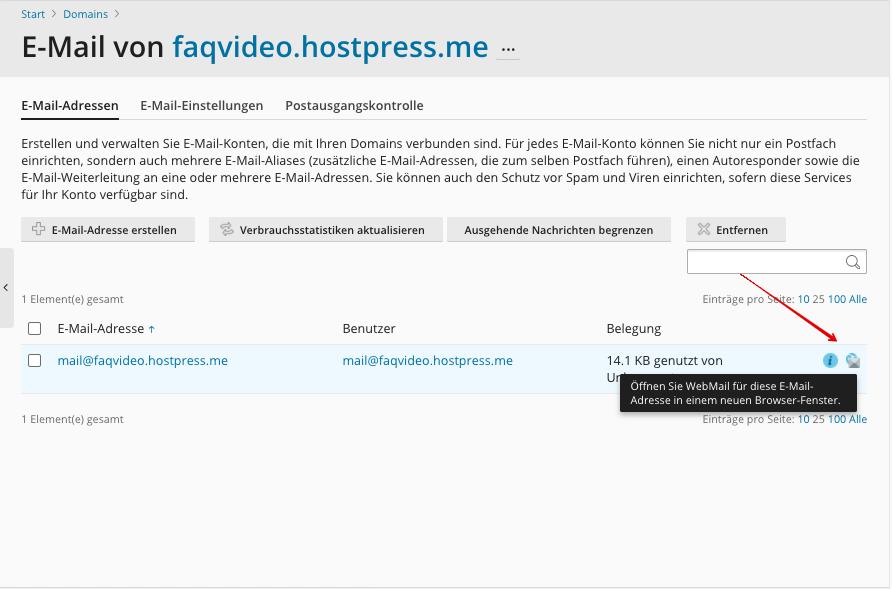 Screenshot: Plesk - Websites & Domains - E-Mail