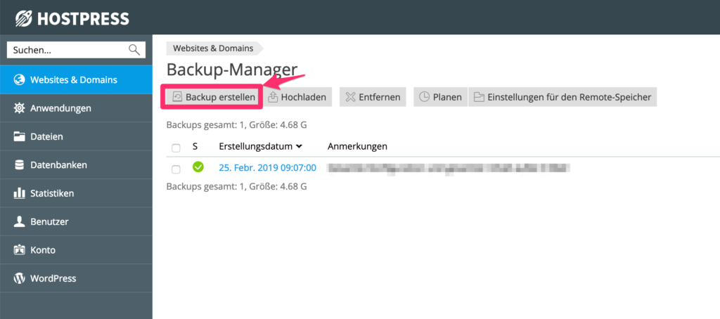 Screenshot: Backup erstellen.