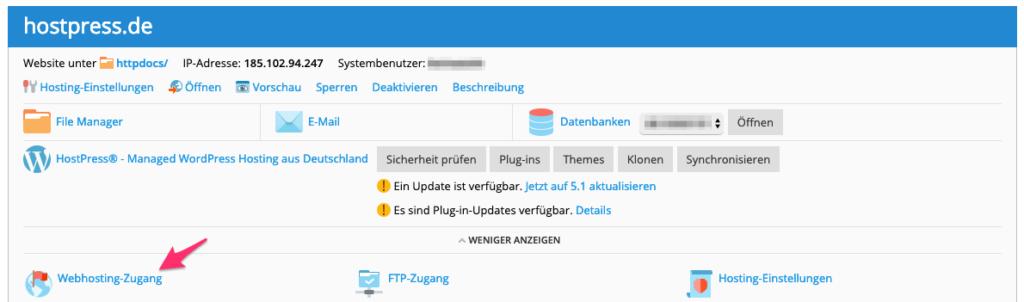 Screenshot aus Plesk - Bereich der Webinstanz
