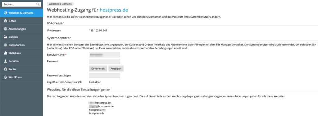 Screenshot aus Plesk - Bereich Webhosting Zugang