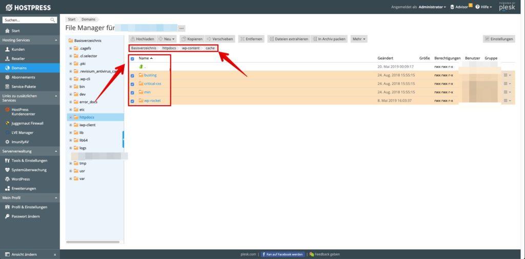 Cache über den File-Manager von Plesk leeren