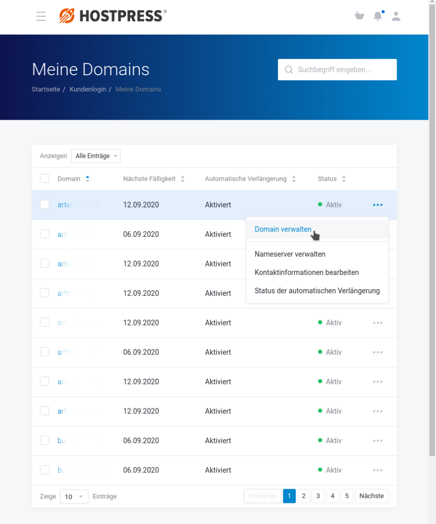 Screenshot: Kundencenter / Meine Domains