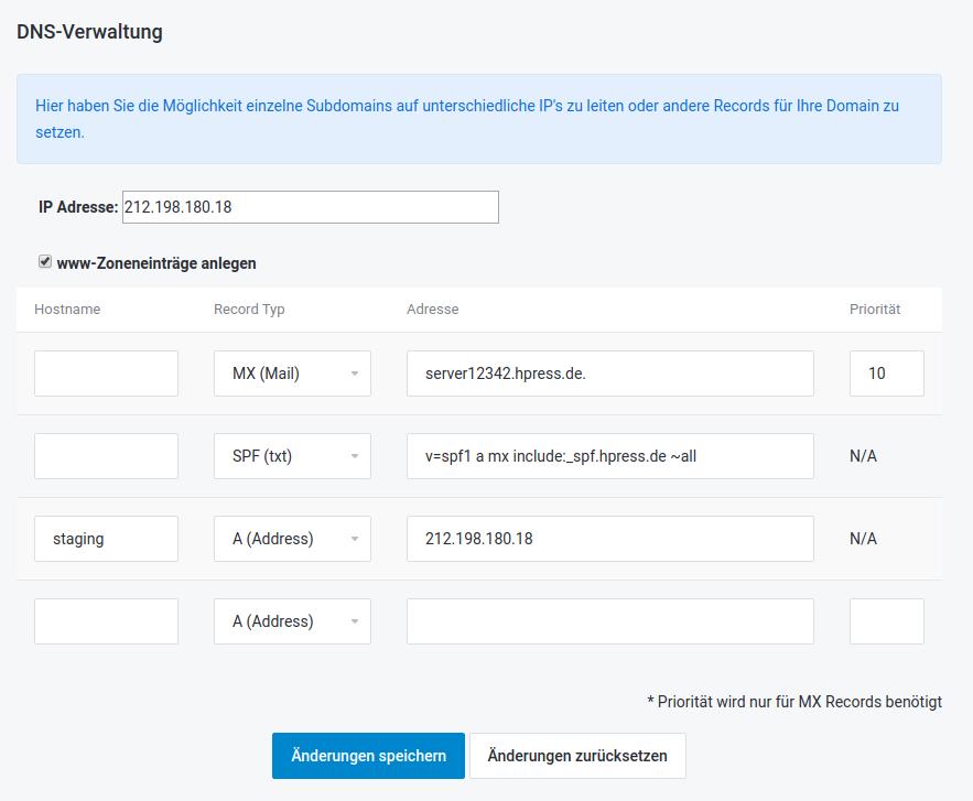 Screenshot: Beispiel einer DNS-Verwaltung