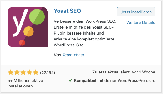 Screenshot: WordPress - Plugininstallationen