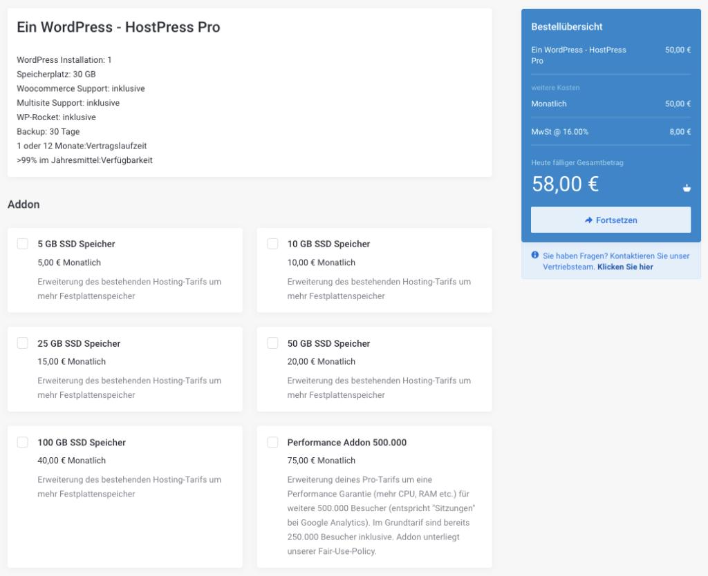 Screenshot: Internetseite HostPress - Der Bestellvorgang - Warenkorb