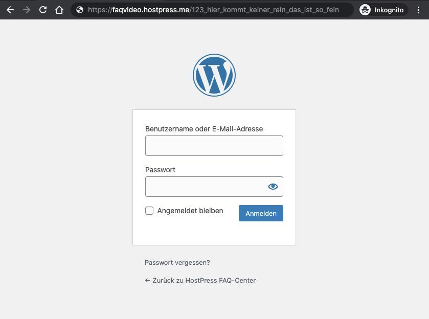 Screenshot: Versteckter Admin-Bereich