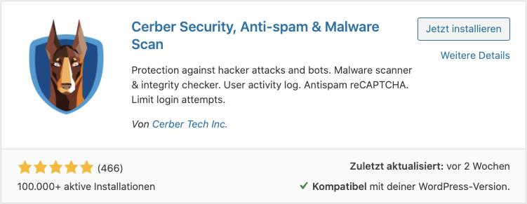 Screenshot: WordPress Pluginsuche - Cerber Security