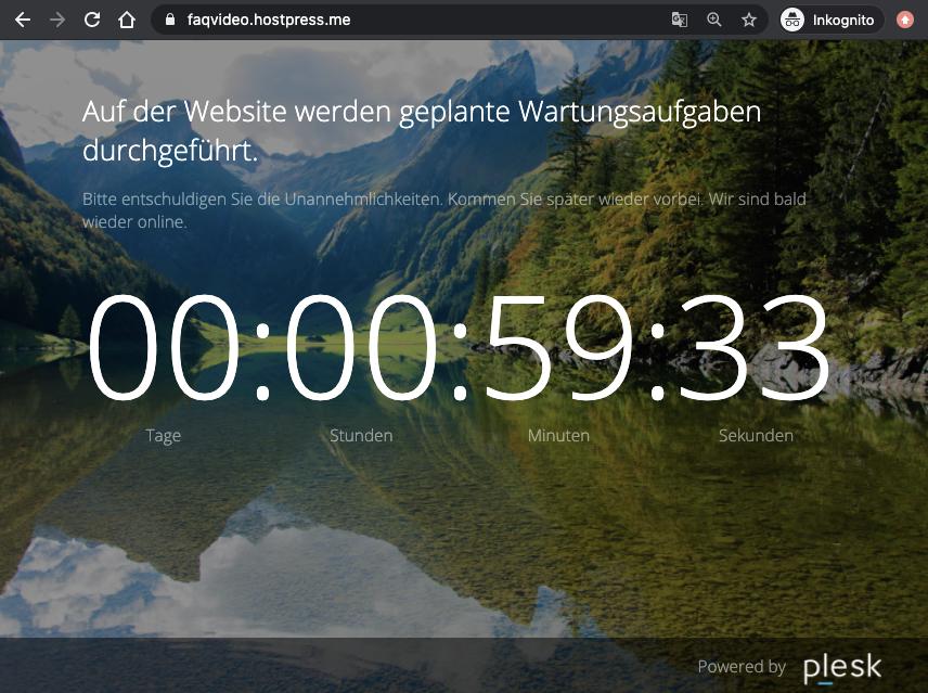 Screenshot: Eingeschalteter Wartungsmodus