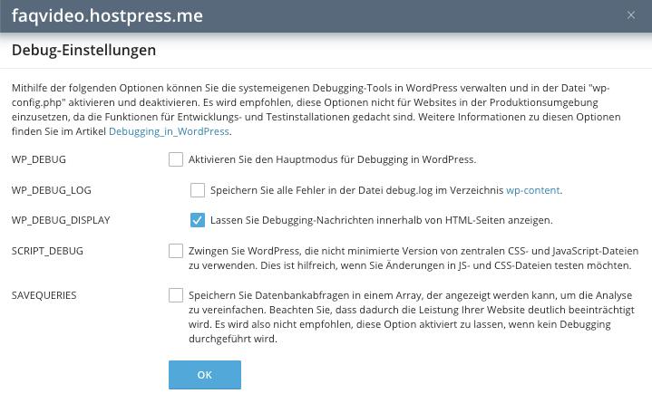 Screenshot: Plesk - WordPress-Toolkit - Debug Modus