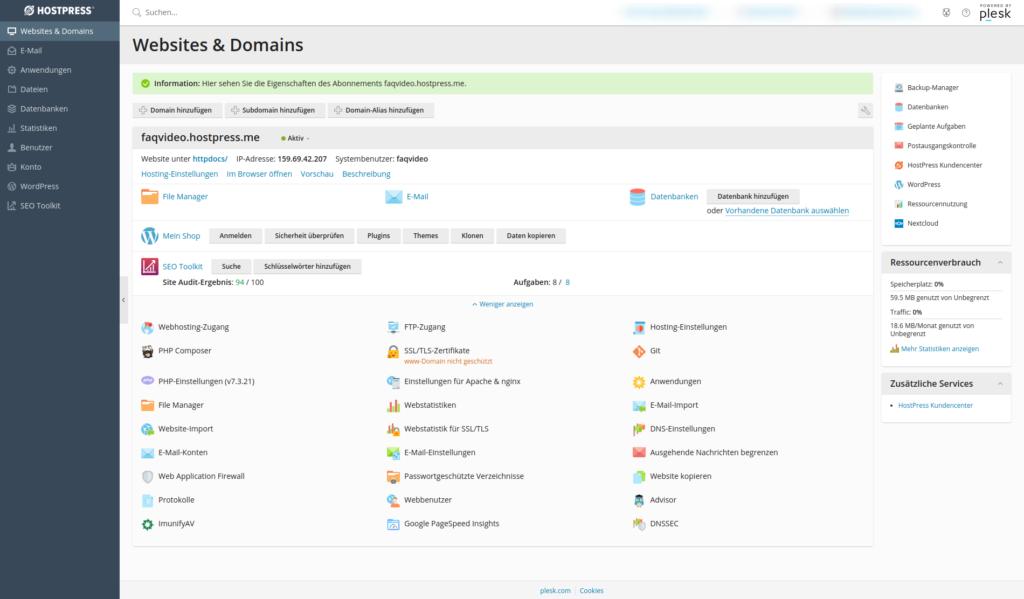 Screenshot: Plesk - Websites & Domains