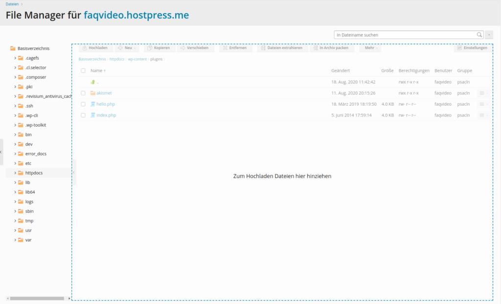 Screenshot: Plesk Filemanager - Dateiupload per Drag&Drop