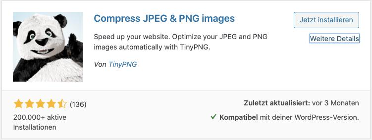 Screenshot: WordPress Plugininstallion - TinyPNG
