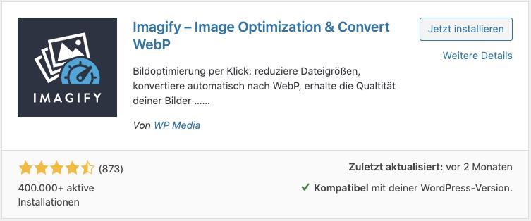 Screenshot: WordPress Plugininstalltion - Imagify
