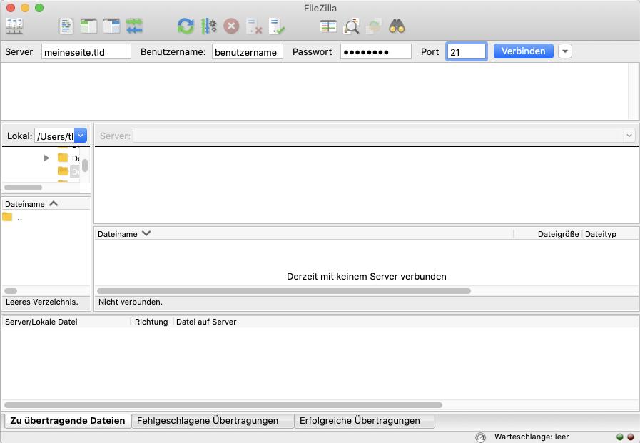 Screenshot: FTP-Client - Verbindungseinstellungen