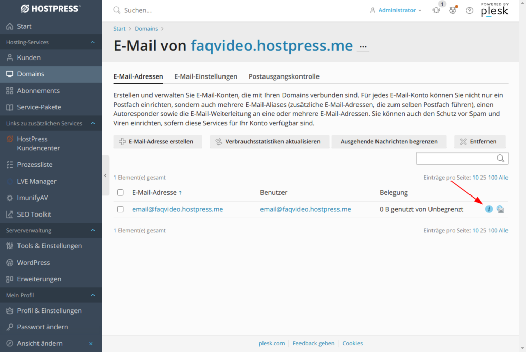 Screenshot: Plesk - Websites und Domains - E-Mail