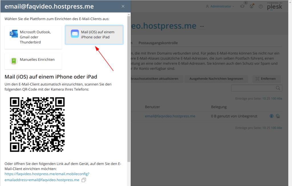 Screenshot: Plesk - Websites und Domains - E-Mail - Einrichtungsinformation