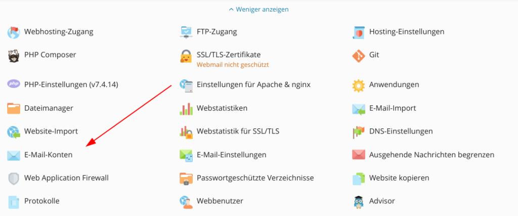 Screenshot: Plesk - Websites und Domains