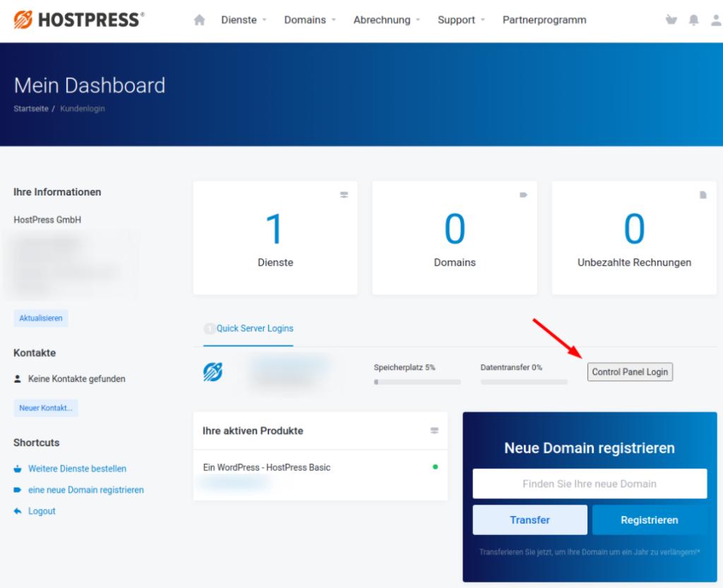 Screenshot: HostPress Kundencenter