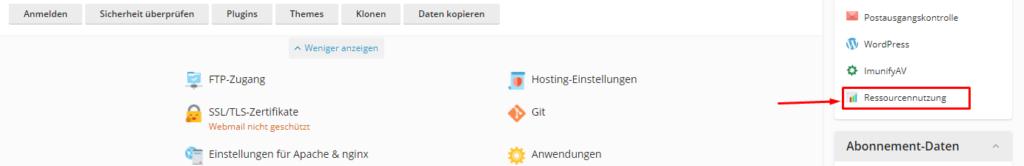 Screenshot: Plesk Benutzeroberfläche