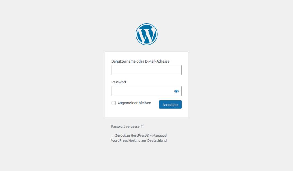 Screenshot: WordPress Backend Login