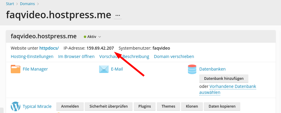 Screenshot: Plesk - Websites und Domains