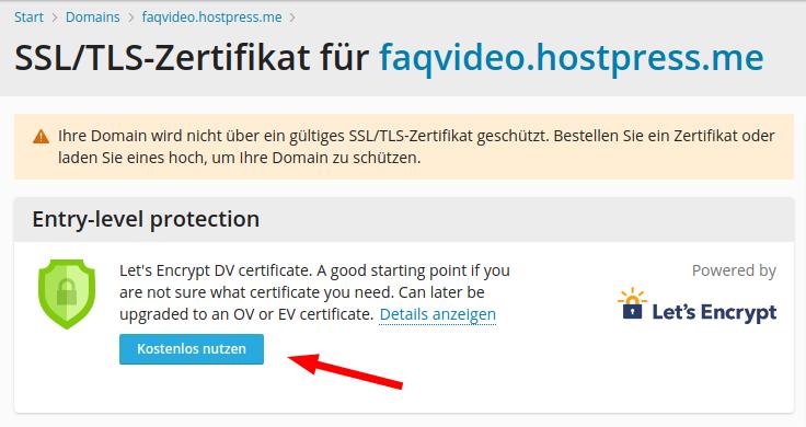 Screenshot: Plesk - SSL/TLS-Zertifikate