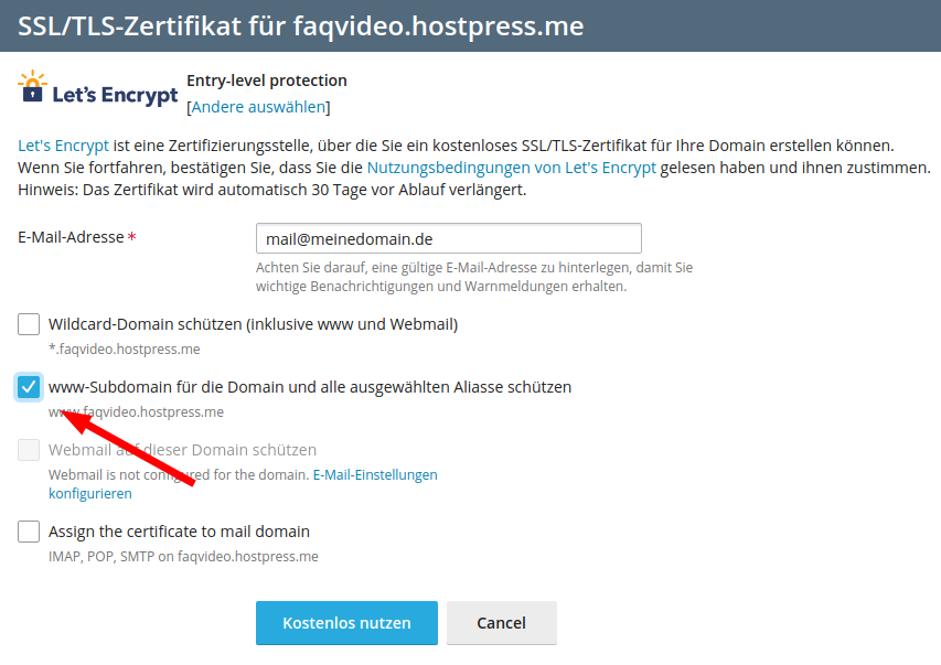 Screenshot: Plesk - SSL/TLS-Zertifikate