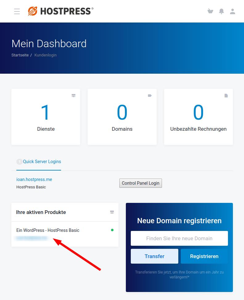 Screenshot: Kundencenter im Bereich Dienste