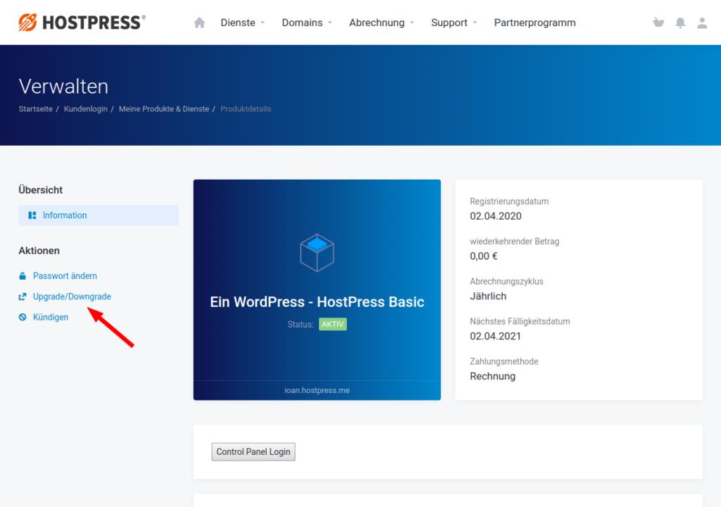 Screenshot: Kundencenter im Bereich des gewählten Produkts