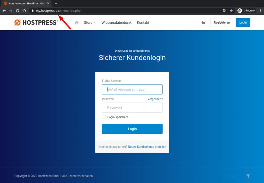 Screenshot: Loginbereich auf https://my.hostpress.de