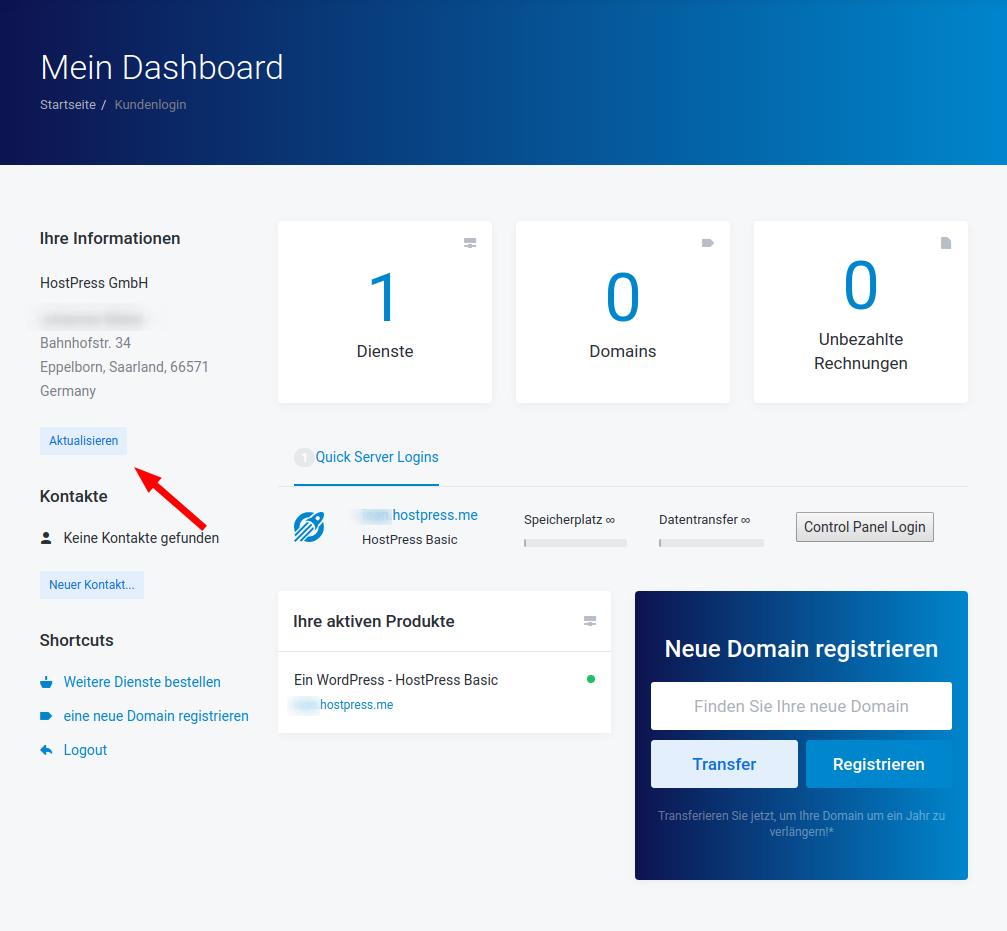 """Screenshot: Der Bereich """"Account"""" im Kundencenter"""