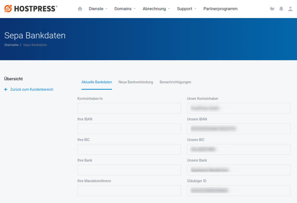 Screenshot: SEPA-Bankdaten