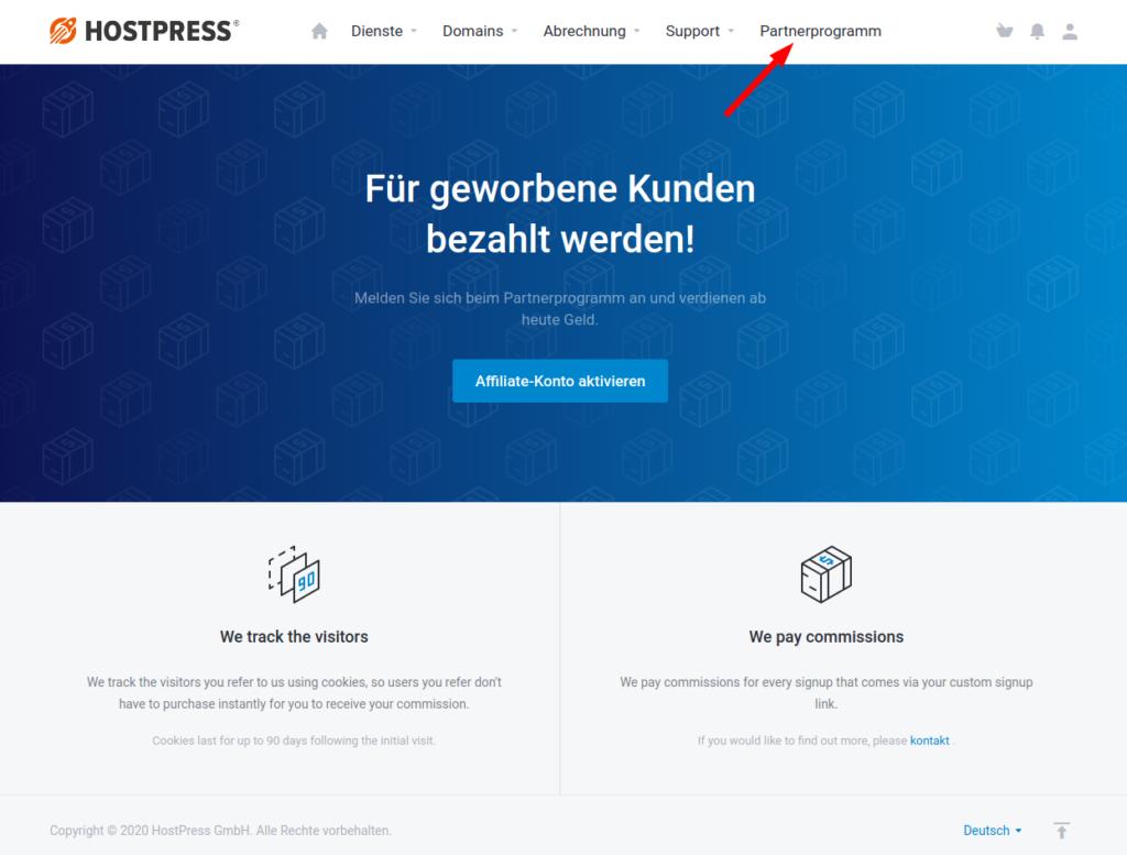 "Screenshot: Kundencenter ""Partnerprogramm"""