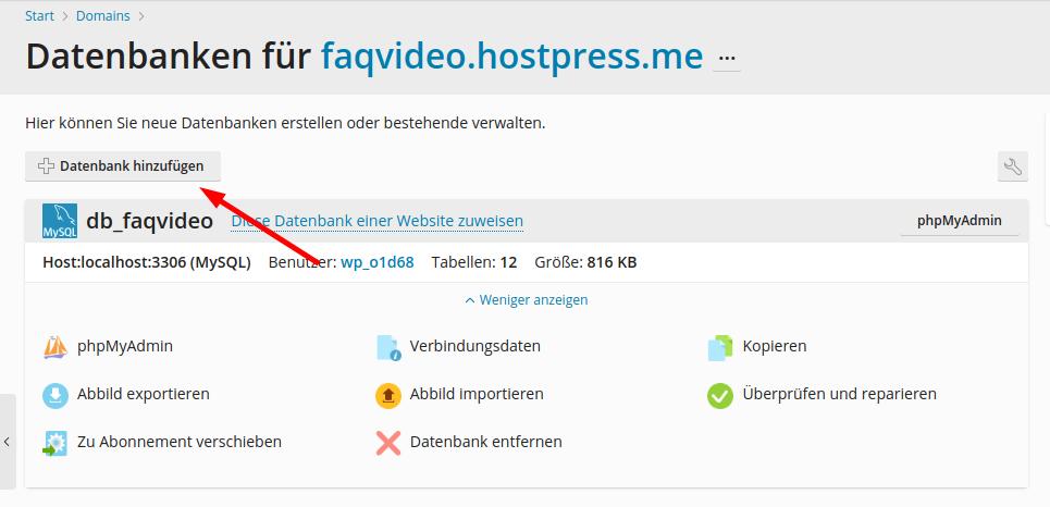 Screenshot: So erstellst du eine neue Datenbank